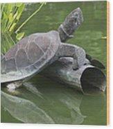 Metal Turtle Wood Print