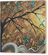 Metallic Gold Textured Original Abstract Landscape Painting Apricot Moon By Madart Wood Print