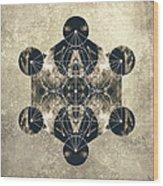 Metatron's Cube Silver Wood Print by Filippo B