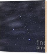 Meteor Stars And Clouds Wood Print