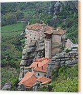 Meteora Monasteries Wood Print
