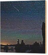 Meteors Over Mono Lake Wood Print