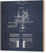 Method Of Drilling Wells Patent From 1906 - Navy Blue Wood Print