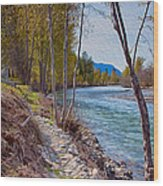 Methow River Coming From Mazama Wood Print by Omaste Witkowski
