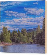 Methow River Crossing Wood Print