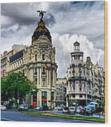 Metropolis Madrid Wood Print