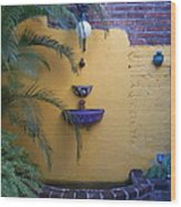 Mexican Courtyard Wood Print
