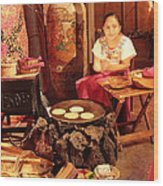 Mexican Girl Making Tortillas Wood Print