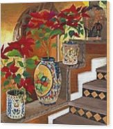 Mexican Pottery On Staircase Wood Print