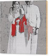 Mexican Revolutionary  Couple In Photo Studio No Location  C.1914-2014 Wood Print