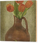 Mexican Water Jug With Poppies Wood Print
