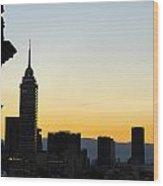 Mexico City Skyline Silhouette Wood Print