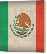 Mexico Flag Vintage Distressed Finish Wood Print