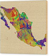 Mexico Map Watercolor Wood Print
