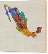 Mexico Watercolor Map Wood Print