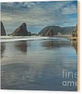 Meyers Creek Sea Stack Blues Wood Print