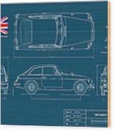 Mgb Gt Blueplanprint Wood Print