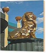 Mgm Lion In Las Vegas Wood Print