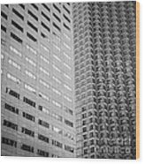 Miami Architecture Detail 2 - Black And White - Square Crop Wood Print by Ian Monk