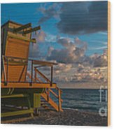 Miami Beach Lifeguard Station Glows From The First Light Of Day - Panoramic Wood Print