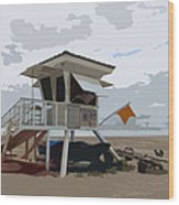 Miami Beach Lifeguard Station II Abstract Wood Print