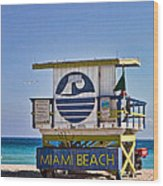 Miami Beach Lifeguard Station Wood Print