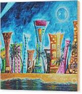 Miami City South Beach Original Painting Tropical Cityscape Art Miami Night Life By Madart Absolut X Wood Print