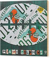 Miami Dolphins Football Recycled License Plate Art Wood Print