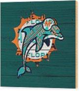 Miami Dolphins Football Team Retro Logo Florida License Plate Art Wood Print