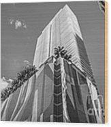 Miami Downtown Buildings - Miami - Florida - Black And White Wood Print by Ian Monk