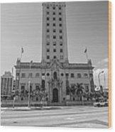 Miami Freedom Tower 3 - Miami - Florida - Black And White Wood Print