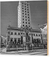 Miami Freedom Tower 4 - Miami - Florida - Black And White Wood Print