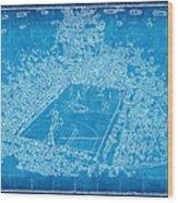 Miami Heat Arena Blueprint Wood Print