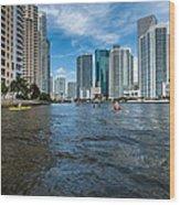 Miami River Kayakers Wood Print