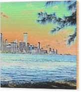 Miami Skyline Abstract II Wood Print