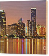 Miami Skyline At Dusk Wood Print