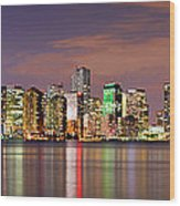 Miami Skyline At Dusk Sunset Panorama Wood Print