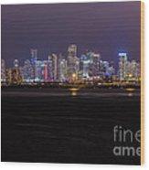 Miami Skyline Bay View Wood Print