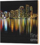 Miami Skyline II High Res Wood Print