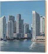Miami Skyline, Miami-dade County Wood Print