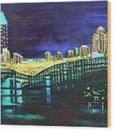 Miami Skyline Of Lights Wood Print