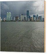 Miami Skyline Storm Wood Print
