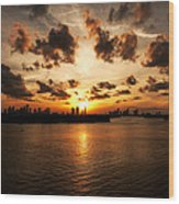 Miami Skyline Sunset Wood Print
