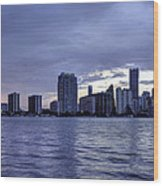 Miami Skyline Waves Wood Print