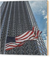 Miami's Financial Center And Old Glory Wood Print by Rene Triay Photography
