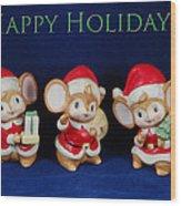 Mice Holiday Wood Print