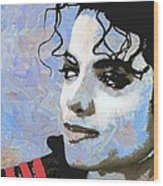 Michael Jackson Blue And White Wood Print