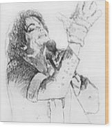 Michael Jackson Passion Sketch Wood Print