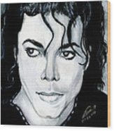 Michael Jackson Portrait Wood Print