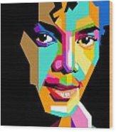 Michael Jackson Young Wood Print